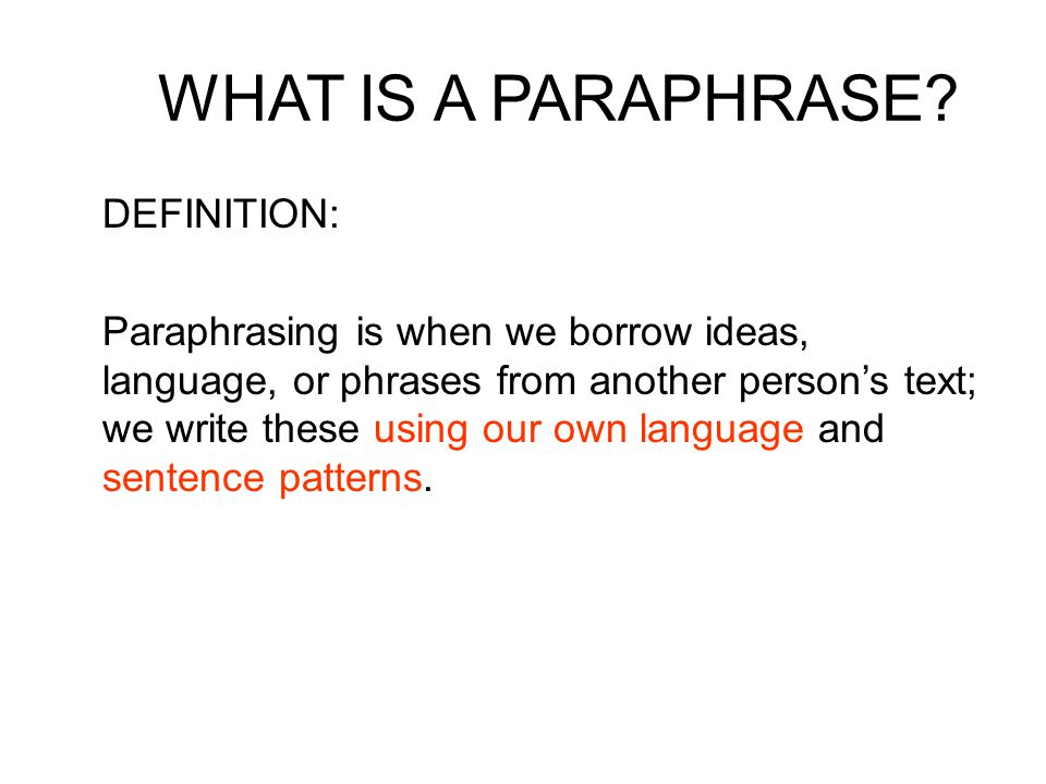 Paraphrasing questions definition