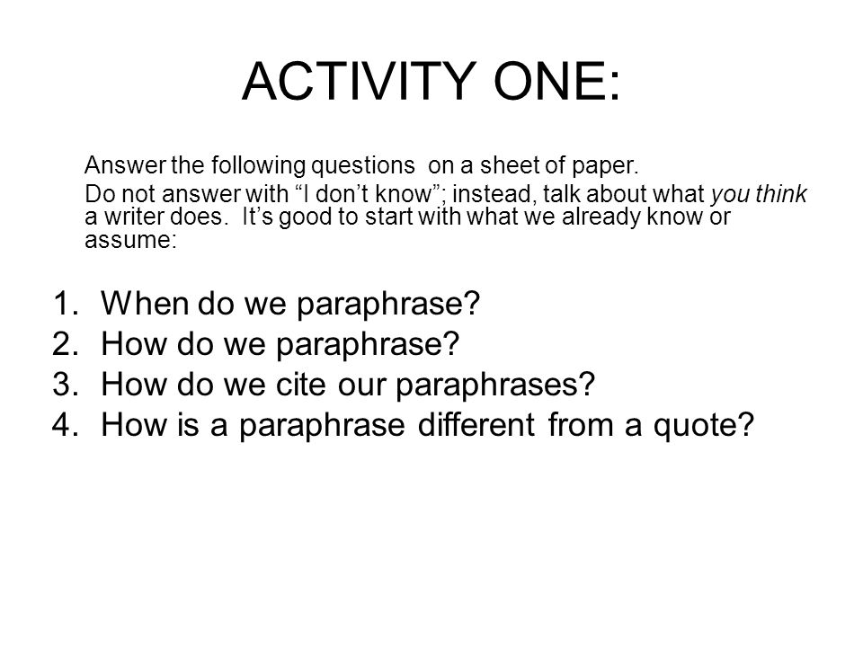 how to paraphrase in an essay