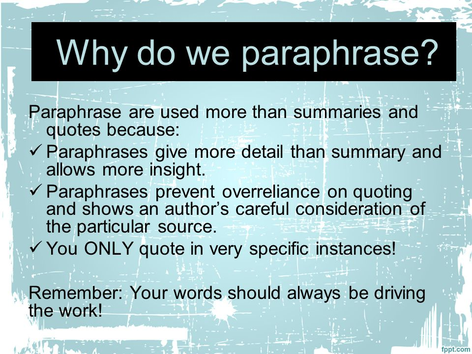 Paraphrasing in a research paper