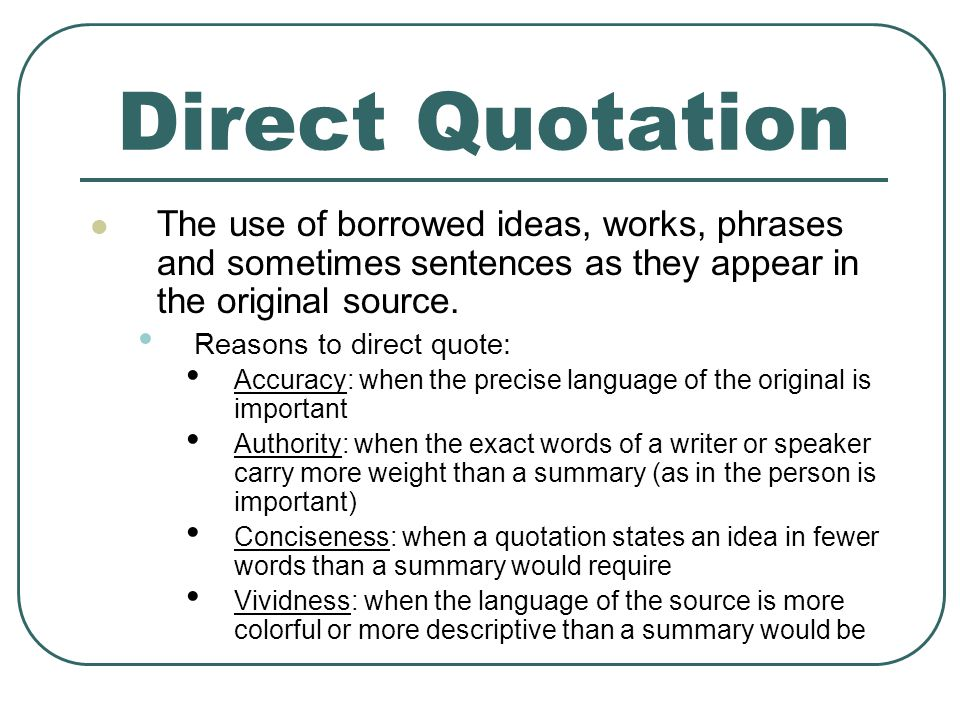 Direct Quote Inspiration Summary Paraphrase Direct Quote Plagiarism…  Ppt Video Online