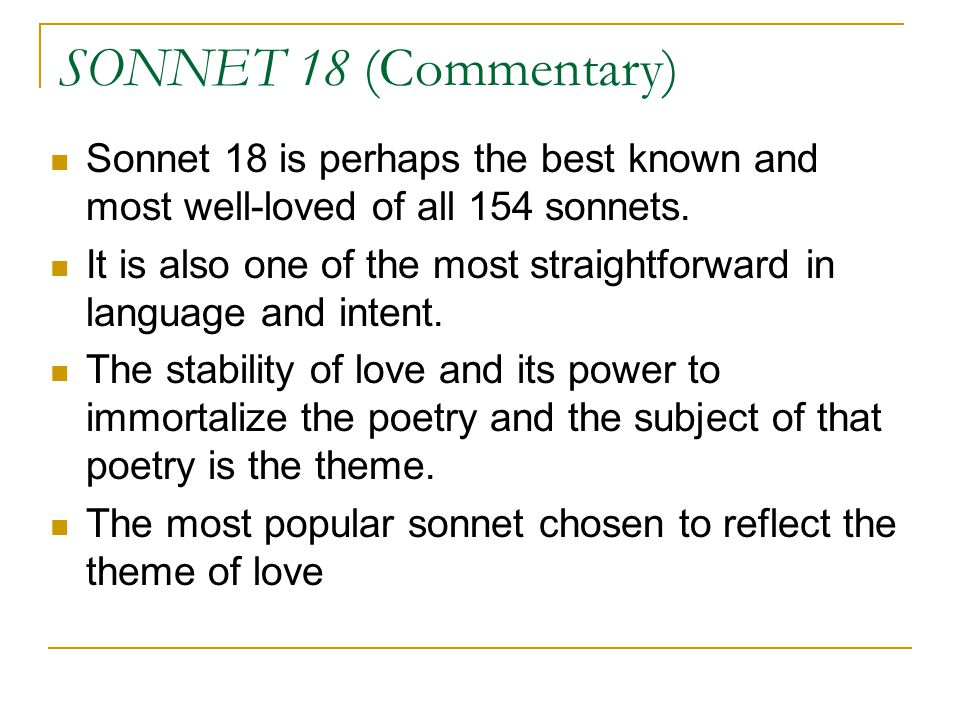 theme of love in sonnets 18 By winnieyin the analysis of antithesis in shakespeare's sonnet 18 and sonnet 130 【summary】this paper is a the theme of love and time are two themes.