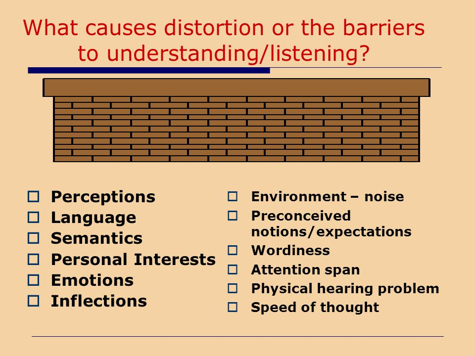 What causes distortion or the barriers to understanding/listening