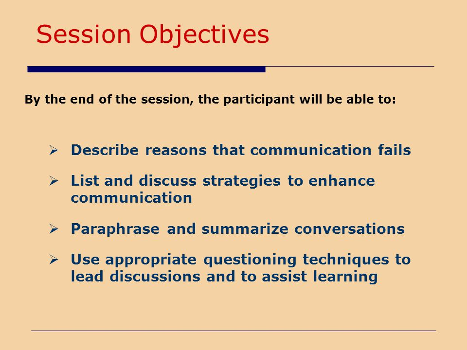 Session Objectives Describe reasons that communication fails