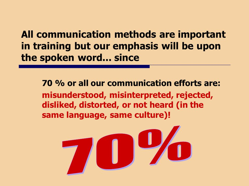 All communication methods are important in training but our emphasis will be upon the spoken word... since