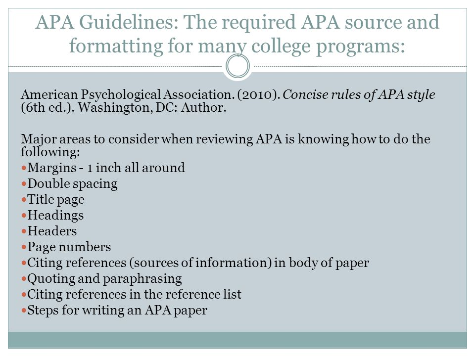 apa format research paper checklist