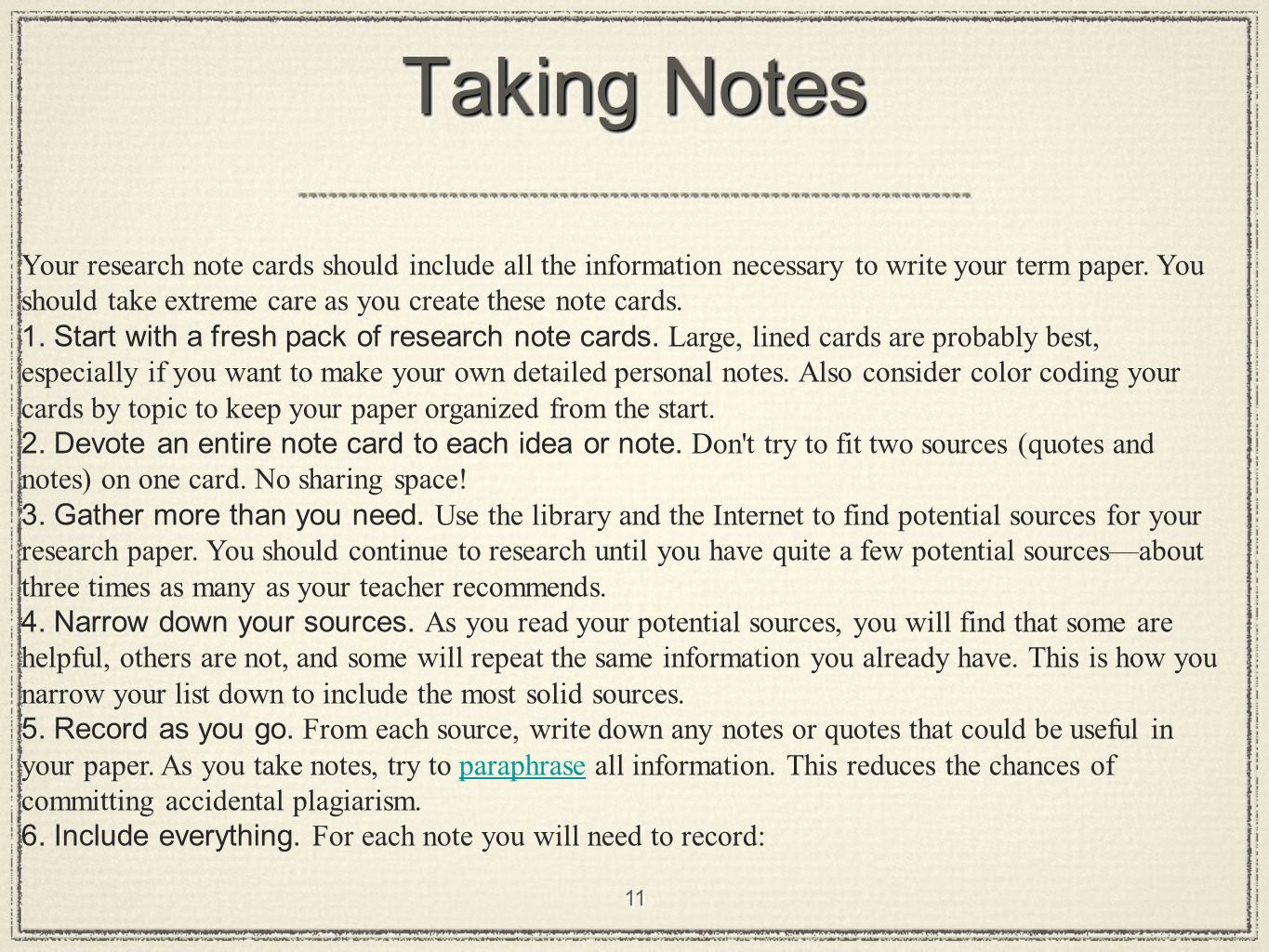 taking notes for others Taking notes is an important part of an active study strategy this section looks at note taking techniques so you can decide which are best for you by.