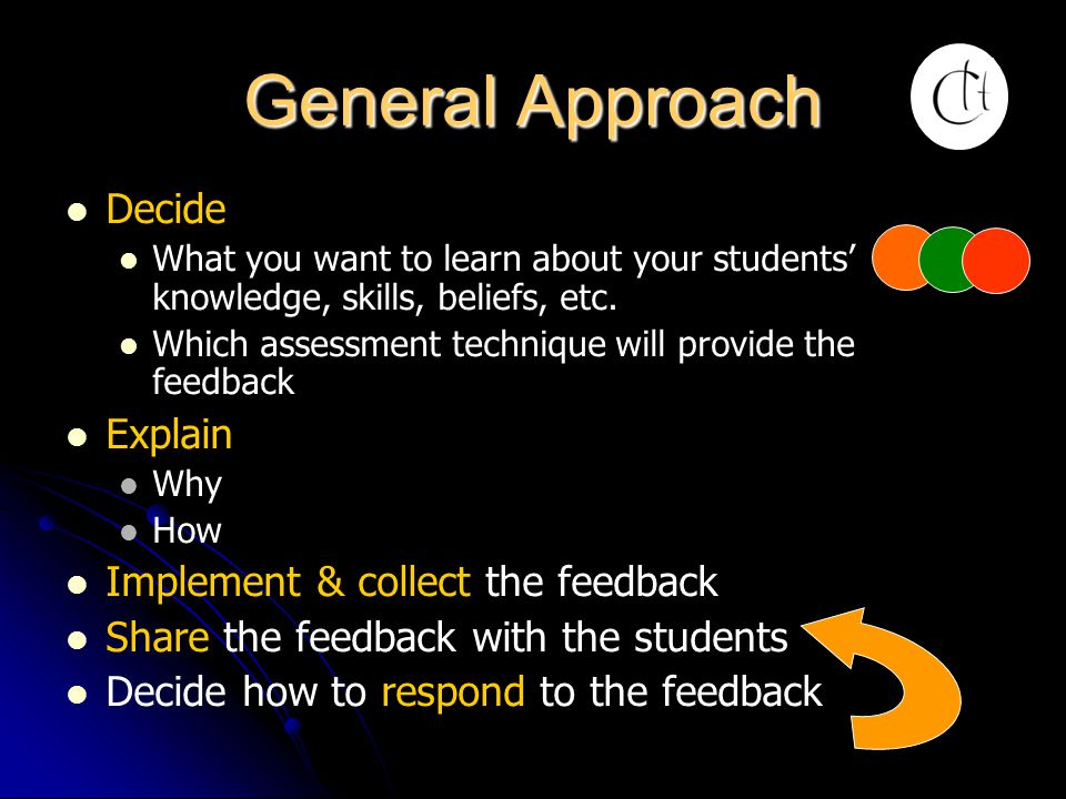 General Approach Decide Explain Implement & collect the feedback