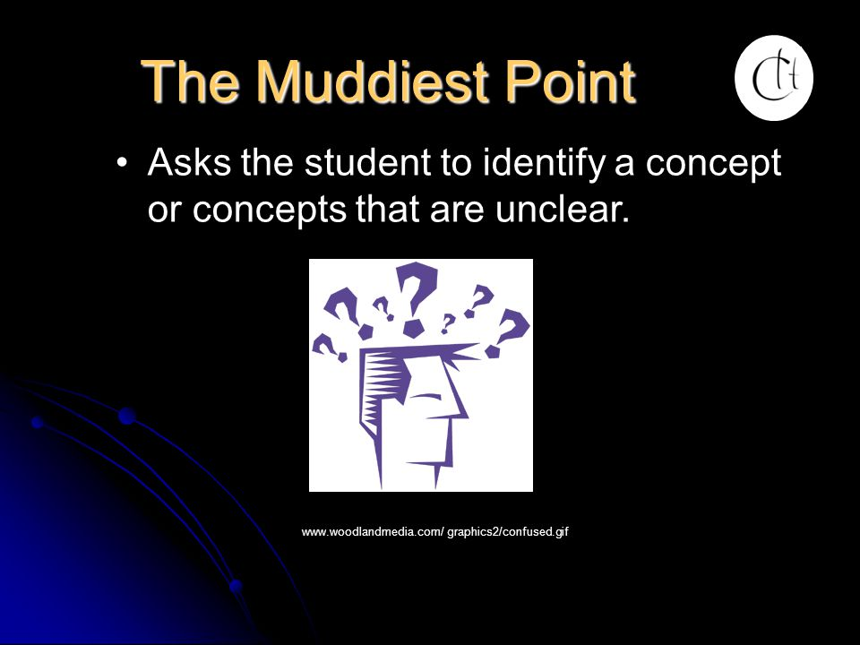 The Muddiest Point Asks the student to identify a concept or concepts that are unclear.