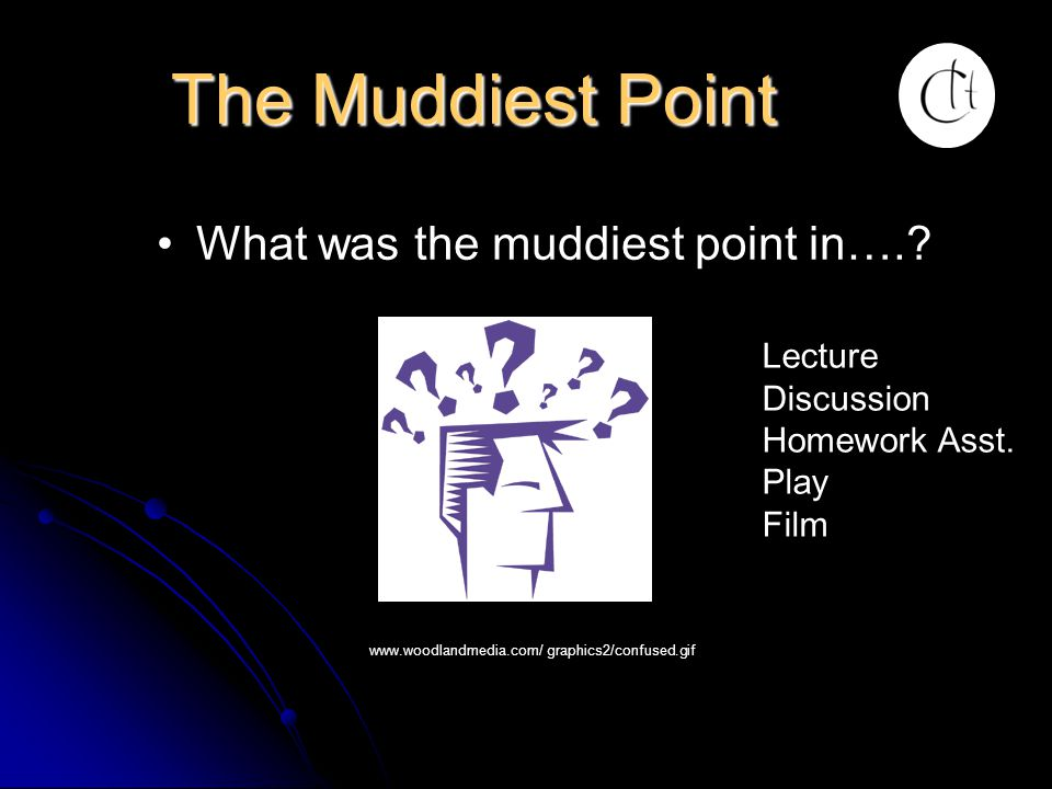 The Muddiest Point What was the muddiest point in…. Lecture
