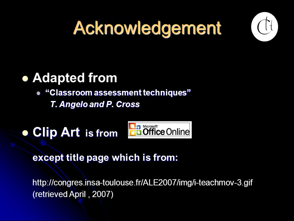 Acknowledgement Adapted from