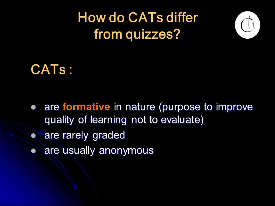 How do CATs differ from quizzes