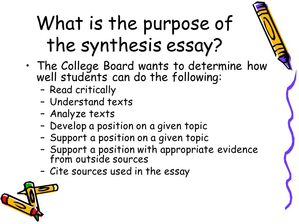 what is a synthesis thesis 2] ok, so i need a thesis statement what else the body of a synthesis essay: should be organized by your discussion of the characteristics, as you have listed them in your thesis statement.