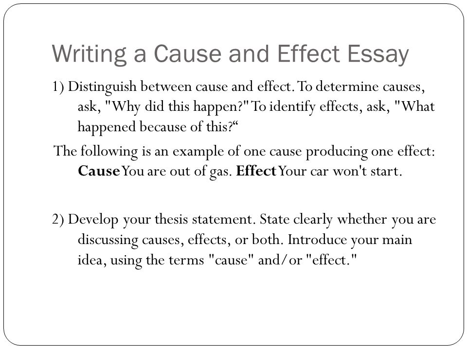 thesis statement builder for cause and effect essay Writing a cause-effect essay: developing a thesis statement a thesis statement in a cause and effect essay usually focuses on causes or effects but not both.