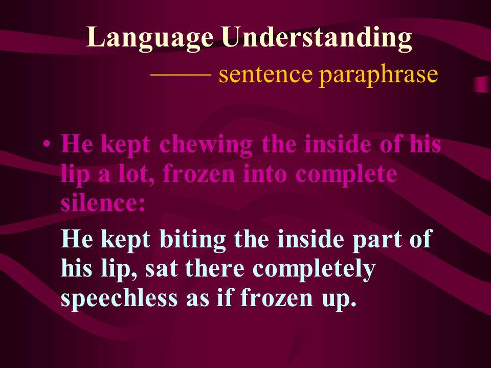 Language Understanding —— sentence paraphrase