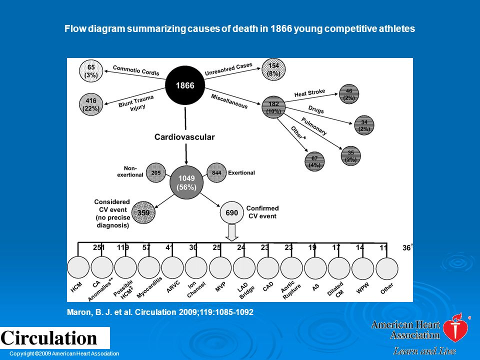Flow diagram summarizing causes of death in 1866 young competitive athletes