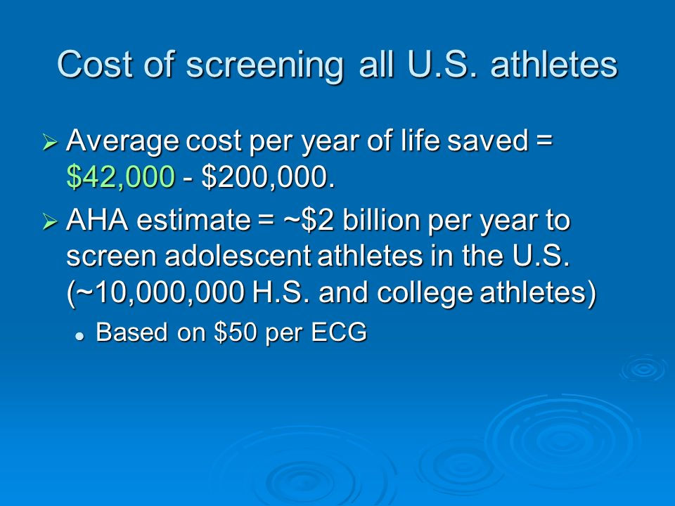Cost of screening all U.S. athletes
