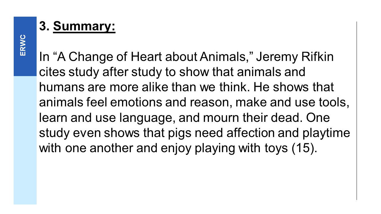 a change of heart by jeremy rifkin 1 re a change of heart about animals, commentary, sept 1: jeremy rifkin  argues that science has shown that the differences between animals and  humans.