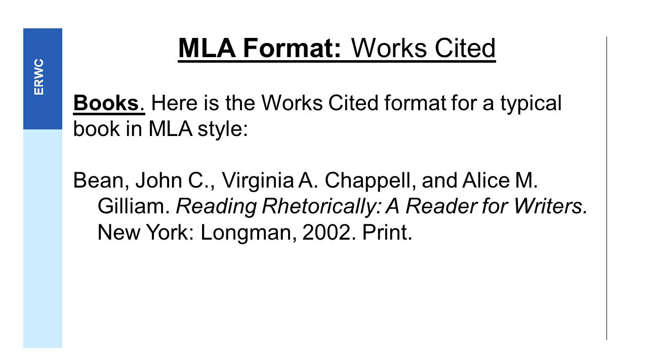 mla formatting for works cited Citation machine helps students and professionals properly credit the information that they use cite your book in mla format for free.