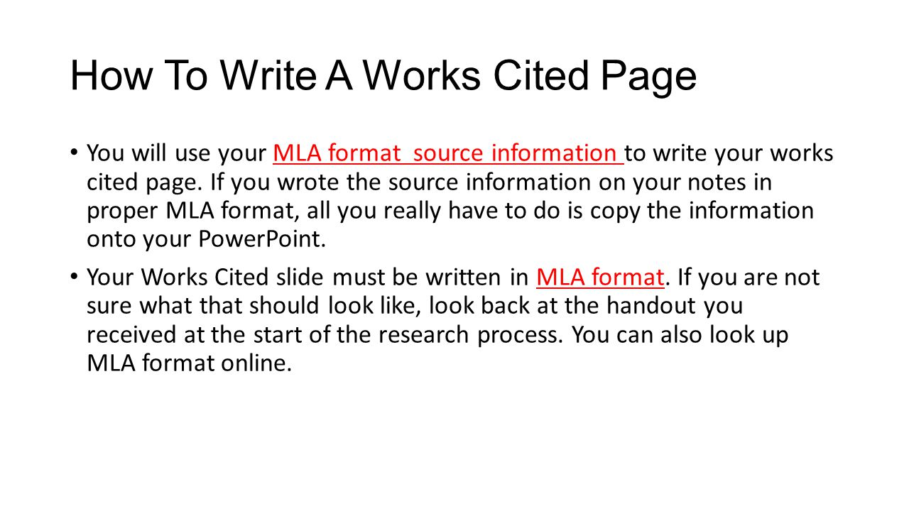 how to do a works cited
