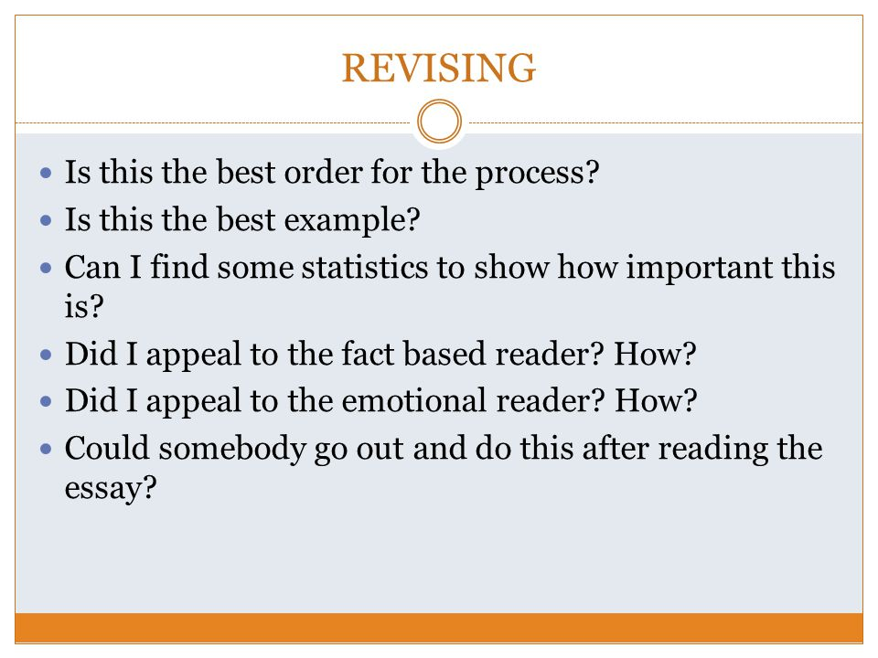 important steps in revising and editing an essay Both revising and editing are crucial steps in the writing process a thoughtfully revised and edited paper will have minimal errors and therefore will make a good impression on the reader once you have a draft written, going through the revising and editing process will help you polish your paper into a quality final draft.