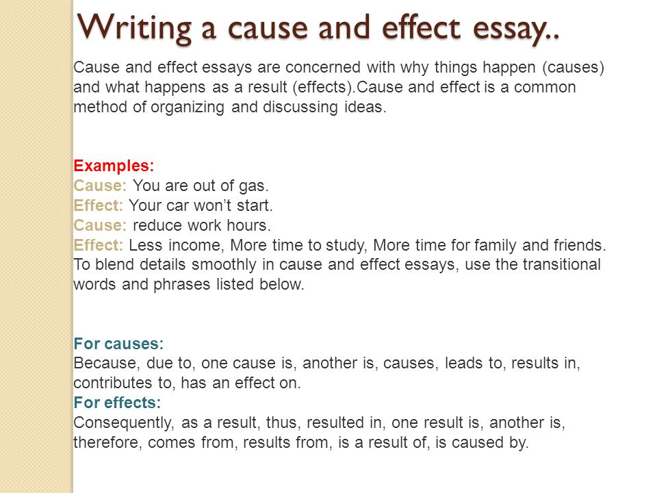 cause effect essay phrase words