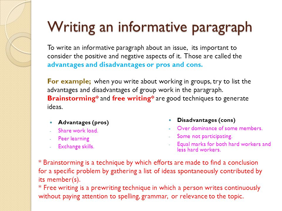 informative paragraph examples In this expository writing lesson, students will consider writing elements that will make detailed paragraphs interesting and draft three informative paragraphs.