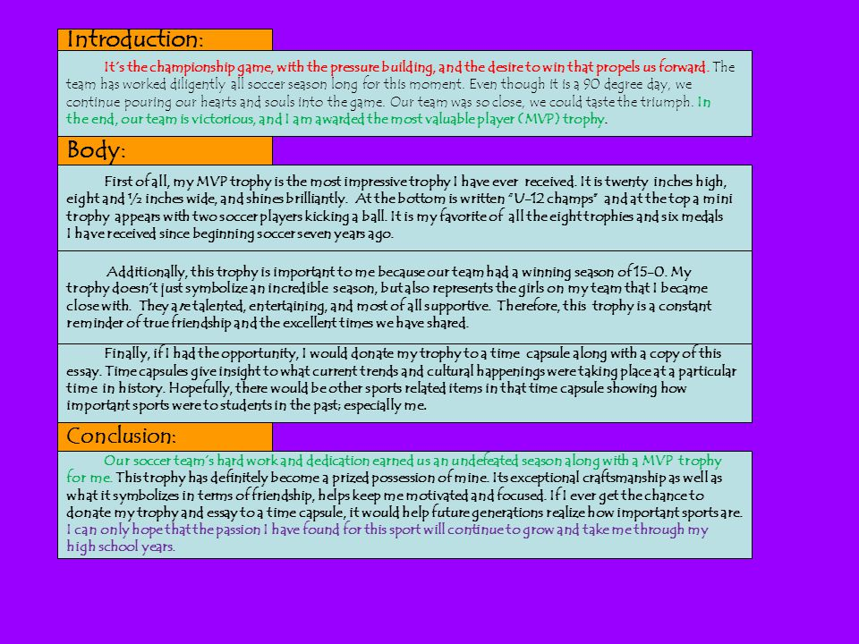 soccer essay introduction In your essay on soccer you can make a little research and find out why soccer is less popular in the united states another good topic for investigation in essays on soccer is the popularity of the game in particular countries.