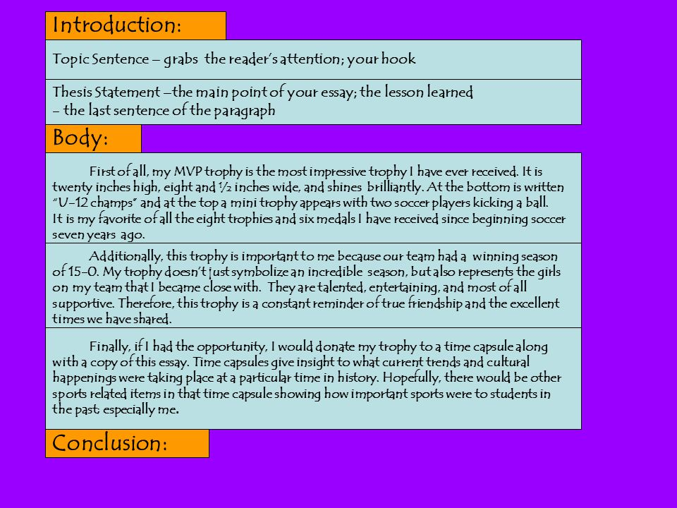 introduction thesis statement body conclusion Finish the introduction paragraph with your thesis statement introduction, body, conclusion - privatewriting to intro and thesis 20% body 70% conclusion.