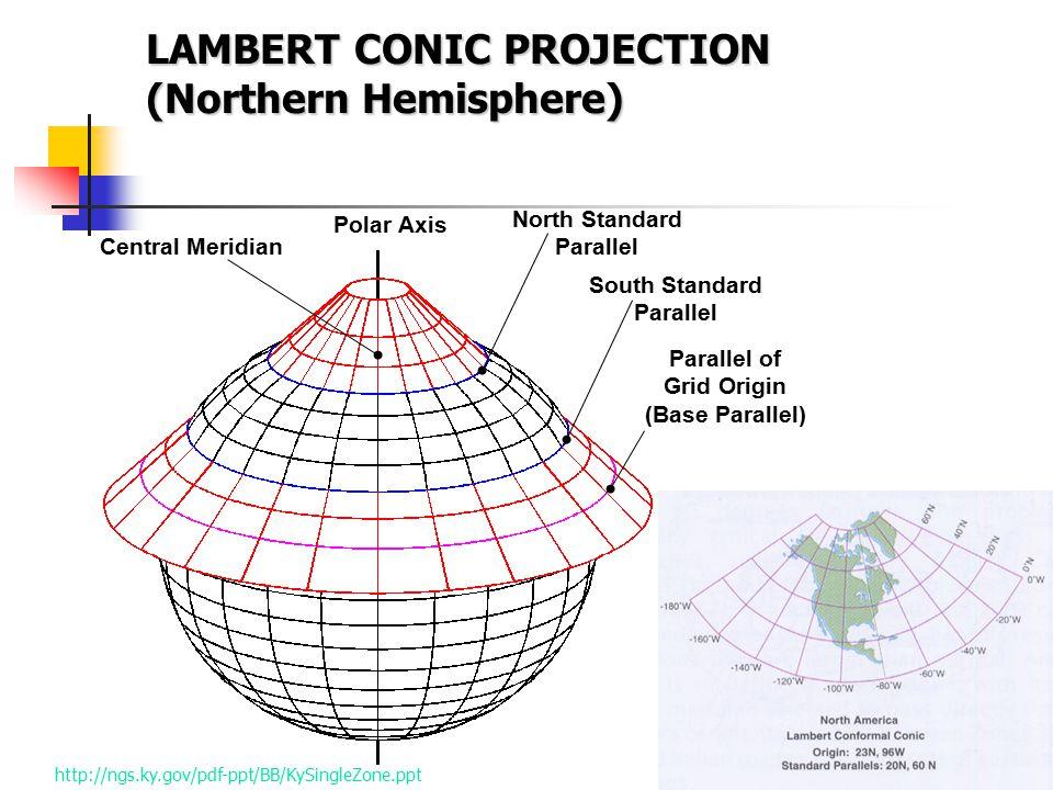 LAMBERT CONIC PROJECTION (Northern Hemisphere)