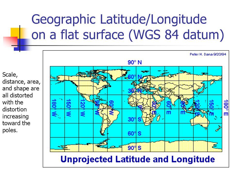 Geographic Latitude/Longitude on a flat surface (WGS 84 datum)