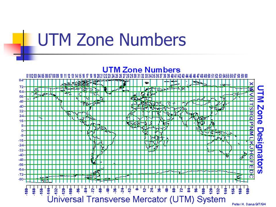 UTM Zone Numbers