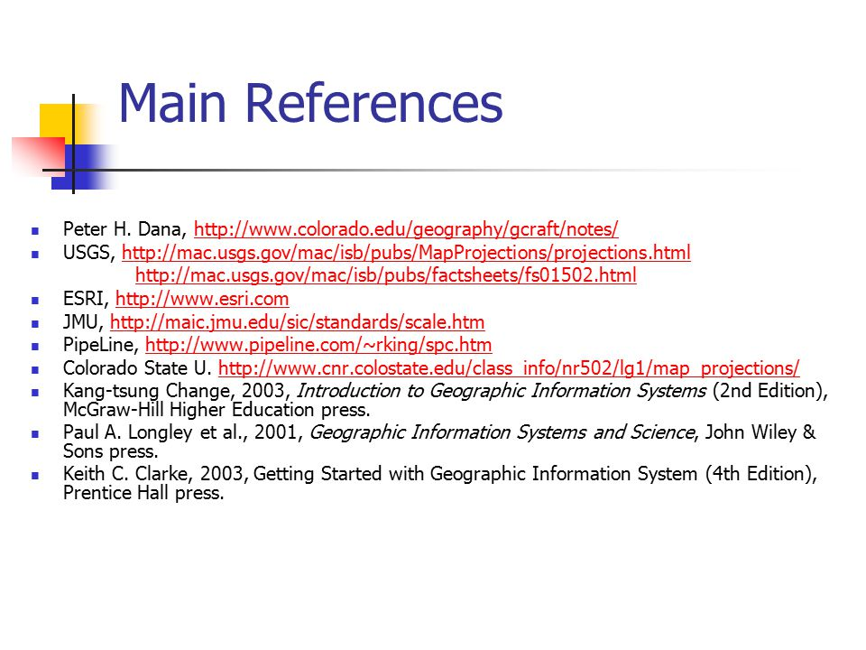 Main References Peter H. Dana, http://www.colorado.edu/geography/gcraft/notes/