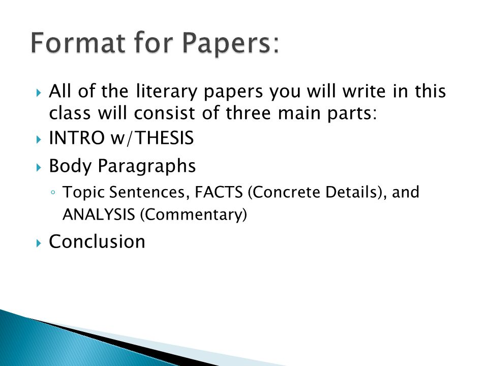 creation of a literary analysis essay ppt  format for papers all of the literary papers you will write in this class will