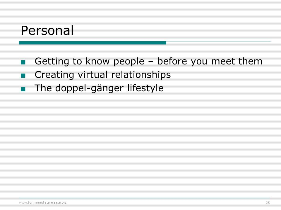 Personal Getting to know people – before you meet them