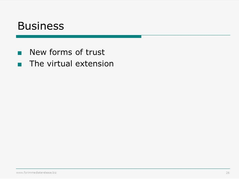 Business New forms of trust The virtual extension Podcasting 101