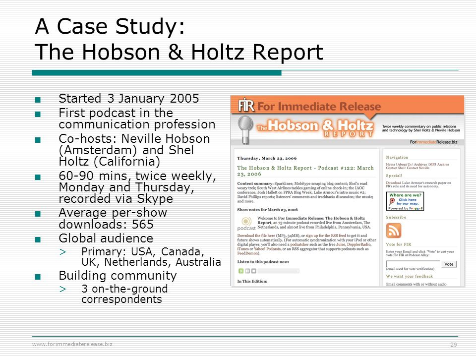 A Case Study: The Hobson & Holtz Report