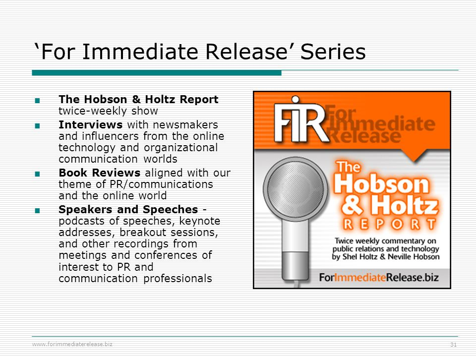 'For Immediate Release' Series