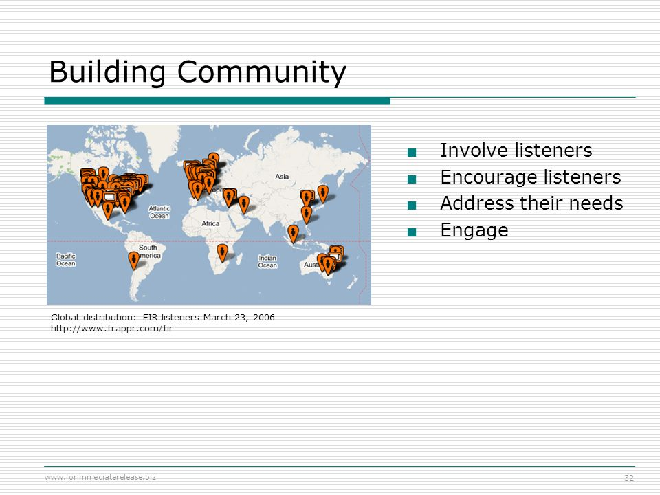 Building Community Involve listeners Encourage listeners