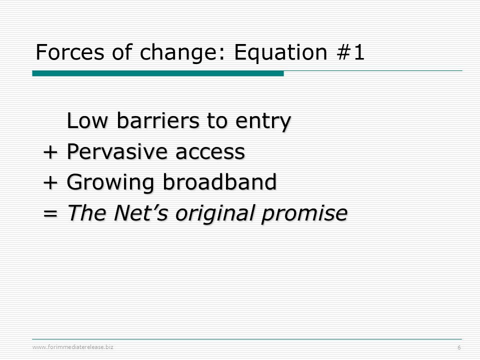 Forces of change: Equation #1