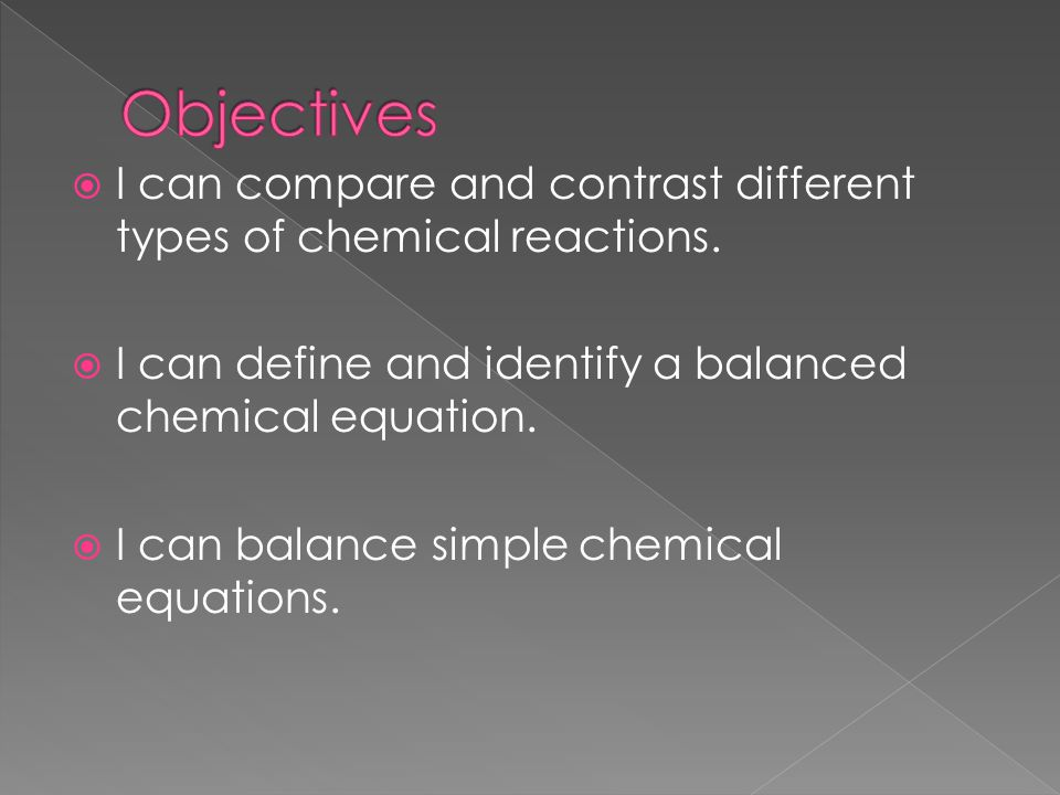 Balancing chemical equations and types of chemical Types of contrast