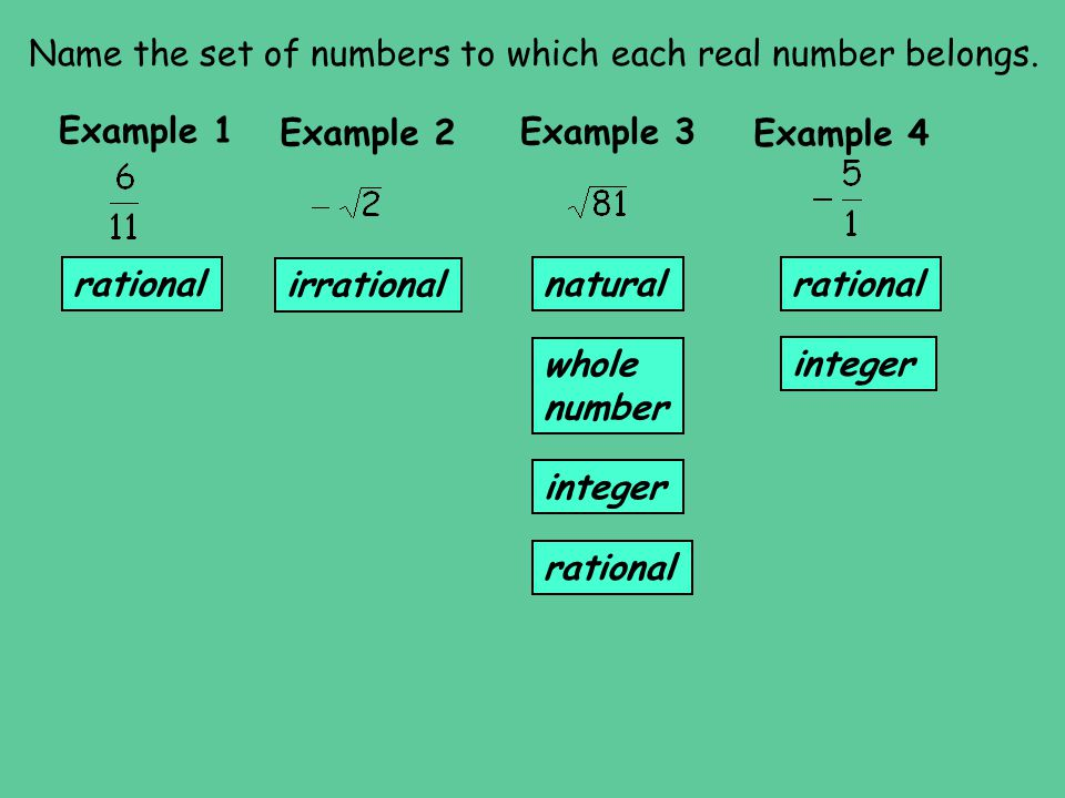 Name the set of numbers to which each real number belongs.