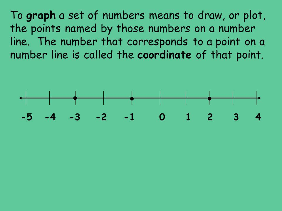 To graph a set of numbers means to draw, or plot, the points named by those numbers on a number line. The number that corresponds to a point on a number line is called the coordinate of that point.