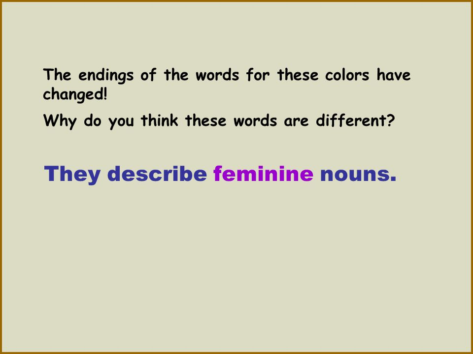 They describe feminine nouns.