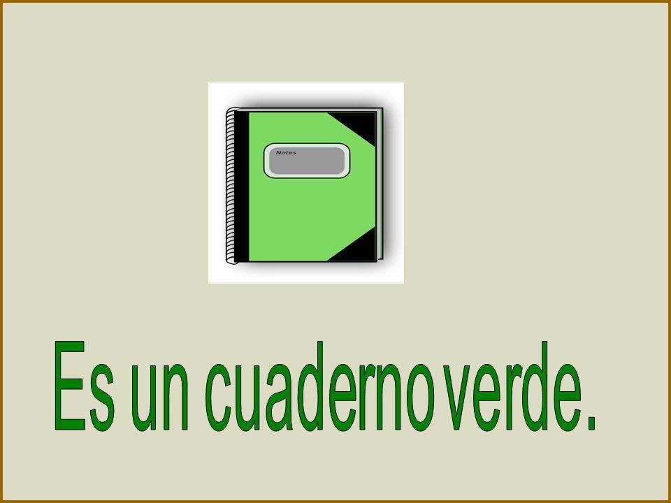 Es un cuaderno verde.