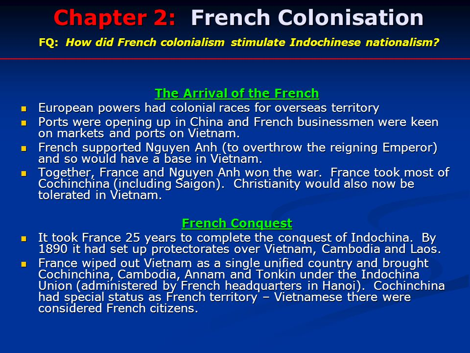 french colonialism and vietnam essay The impacts of french colonialism in vietnam vietnam is an independent country located in southeast asia, in 1802 the vietnamese overthrew a millennium of.
