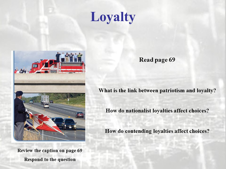 patriotism and loyalty Loyalty and patriotism are emotive issues and it often proves difficult to have a reasoned discussion about them i am going to seek an easier entry by dealing first with misplaced loyalty and patriotism.