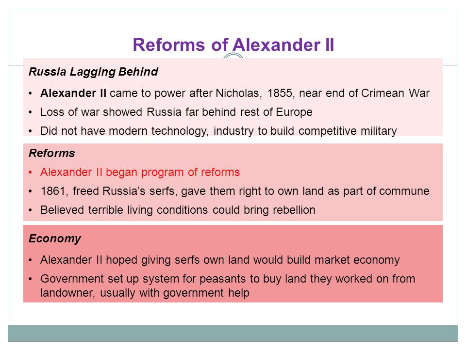 reforms of alexander ii essay The young man who would become alexander ii was formed, and informed, by all of these his twenty-six year reign would be marked by earnest efforts at major reforms, partly as a sort of filial revenge against a father he viewed as cruelly autocratic, and the by now typical tsarist retreat to the safety of that.