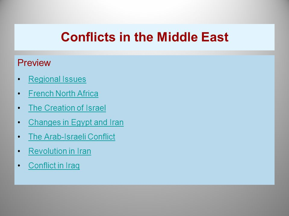 media presentations of the middle east conflict His regional focus is in the middle east and good fences bad neighbors: border fixity and international conflict (university of professional presentations.