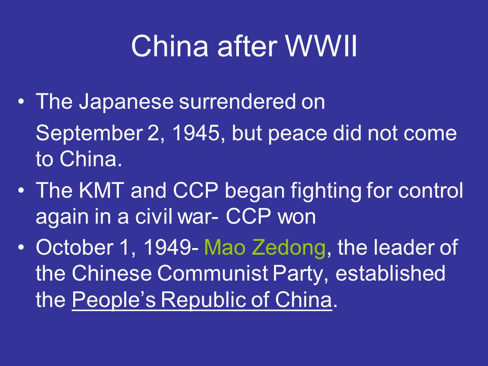 why did chinese communist party win civil war 1949 Why did the communists win the civil war 1945-1949 l/o by late sep 1949, most of china was under communist control mao called a conference.