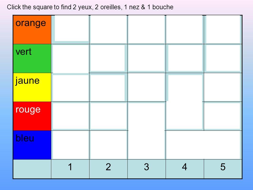 orange vert jaune rouge bleu 1 2 3 4 5
